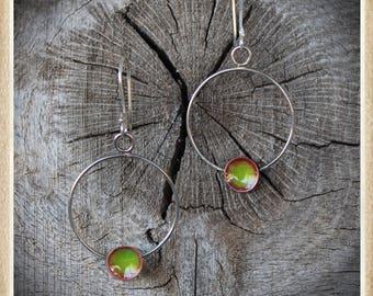 Sterling silver and copper enameld dangling hoop earrings
