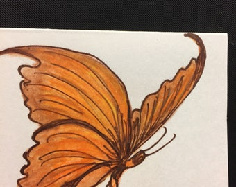 Butterfly Hand Painted on Gift Card