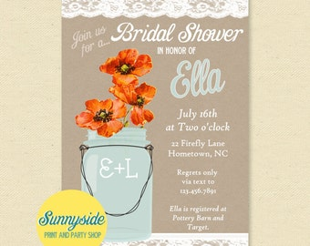 Orange Poppies Bridal Shower Invitation with Burlap, Lace and Mason Jar, Printable Wedding Shower Invite