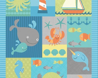 Timeless Treasures - Sea Creature - Panel - Splish Splash