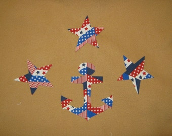 Ancre découpé à la main et 3 étoiles Appliques - 4 pièces - fer sur coudre sur - 2,50 - appliques patriotique, applique coton, applique silhouette