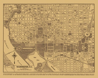 1944 Washington DC Street Map Vintage Sepia Print Poster