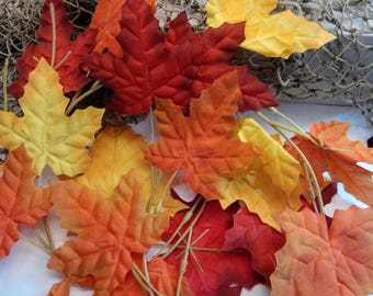 Autumn and Fall Artificial Maple and Oak Leaves  - Lot Multi Color, Red, Yellow, Orange and Brown