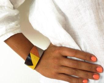 Sparrow: Modern Laser Cut Leather Mosaic Cuff Bracelet