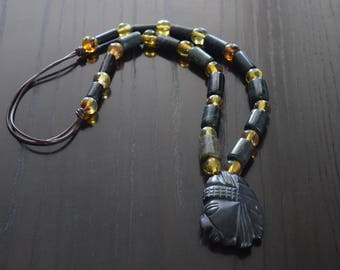 Amber spheres and jade tube beads with Mayan Pendant Necklace Handmade.