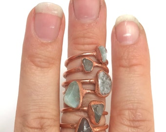Fluorite and Copper Electroformed Ring /// Fluorite Ring // Raw Stone Ring /// Stone Ring /// Boho Jewelry