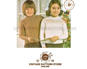 """girls boys toddlers, fair isle yoke and easy to knit polo neck sweater 24"""" - 28"""" chest - Vintage PDF Knitting Pattern 570"""