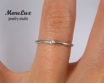 Natural Swiss Topaz Stackable Silver Ring, November Birthstone, 1.5 mm Round Cut Genuine Blue Swiss Topaz Ring Tiny Stackable Silver Ring