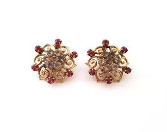 Vintage Gold Tone Ornate CZ and Mauve Rhinestone Clip On Earrings - Gift for Her / C250
