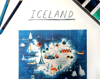 A3 Illustrated map of Iceland