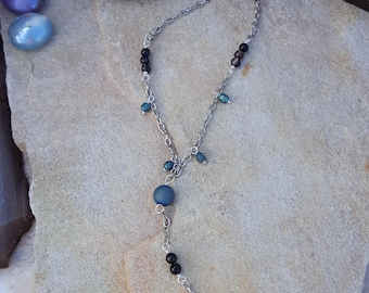 Sea Witch Heart Lariat Necklace - Lariat Necklaces - Heart Pendant - Druzy - Silver Lariat Necklace