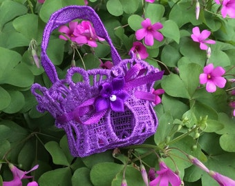 Embroidered Lace Tiny Easter Basket Purple