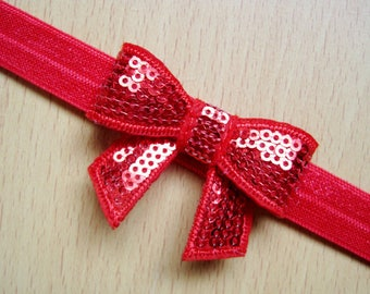 Red Sequin Bow Headband ~ Bling ~ Pageant ~ Photo Prop ~ Baby Headband ~ Girls Headband ~ Big Bow Headband ~ Sequin Bow Headband