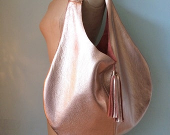 Rose gold leather hobo bag, rosegold leather slouch bag, leather tote