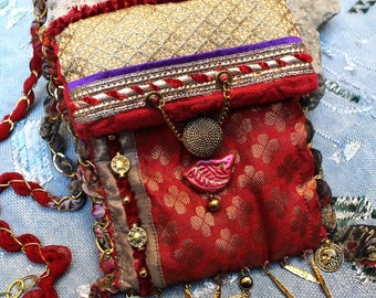 Indian pouch- small ethnic bag- iphone pouch- fabrics, braids, pearls- golden coins- boho-chic bags- Indian bags- Unique creation