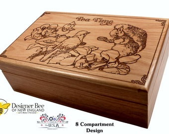 Wood Tea Box - Forest Friends Tea Party -  Reflect on Summer Breezes Year Around! Made in USA. Choose from 2 Sizes