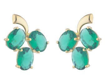 14Kt Yellow Gold Plated Emerald Oval Shape Design Stud Earrings