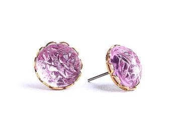 Light pink baroque jewel hypoallergenic surgical steel post earrings (444)