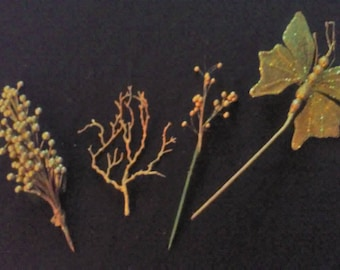 Gold Floral Picks Christmas Floral Supplies Arrangements Wreath Making Corsages Glitter Butterfly Berries Branch Crafts