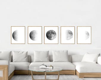 Moon art Print Phases Lunar Poster Black White Set of 5 Luna Night Sky Minimalist art Scandinavian art Constellations Monochrome Wall art