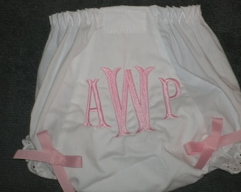 Monogrammed Baby Bloomers, Personalized Baby Bloomers with Bows