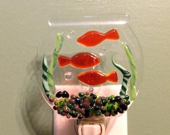 Goldfish Bowl, Fish, Pet, Fused Glass, Aquarium, Night Light, Goldie, Bubbles, 3 Little Fishes, Goldfish, Gold Fish, Bubbles the Goldfish