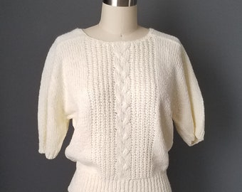 80s cream short sleeve sweater