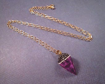 Quartz Crystal Necklace, Violet Dyed Pendant Necklace, Pave Rhinestone and Gold Chain Necklace, FREE Shipping U.S.
