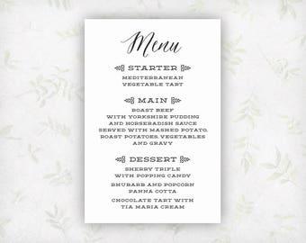 PRINTABLE Wedding Dinner Menu, Custom Wedding Menus, Printable Wedding Signs, Black and White Personalized Individual Wedding Menu WS1BP