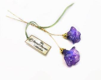 Purple Lampwork Flower Headpin Pair