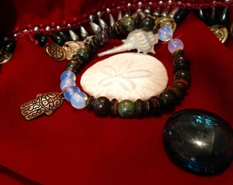 Hasma Hand charm, Rainbow Moonstone, Dragon's Blood Jasper, and Sea Sediment Jasper Bracelet