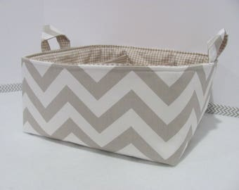 "SALE Diaper Caddy - Fabric Storage Basket - 11""x11"" Organizer Bin - Storage box - Diaper Bag - Baby Gift - Nursery Decor - Tan Chevron - RTS"