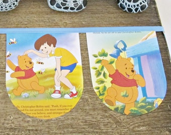 Winnie The Pooh Bunting Birthday Party - Nursery Bedroom Homewares For Kids Children - Banner Supplies Decor Decoration First Blue Unisex