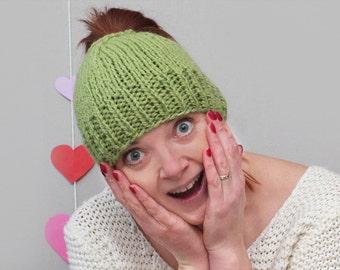 Messy bun hat, messy bun beanie, ponytail beanie, knit wool bun hat, dark brown hat, ready to ship, popuar hat, popular item