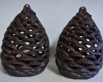 Cast candle holders 6022, pine cone shape