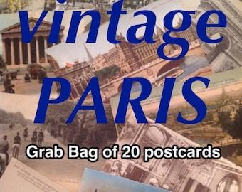 PARIS Cartes Postales - Grab Bag - lot of 20 vintage (antique) postcards from France CARTES POSTALES anciennes
