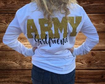 ARMY Girlfriend, White,  Long Sleeve T-Shirt, Army Girlfriend T-Shirt