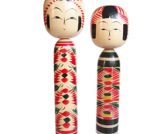 TALL Pair of Vintage Japanese Kokeshi Dolls. Husband and Wife. Dento Kokeshi. Traditional Kokeshi. Kokeshi. Japanese Doll. Vintage Japanese.