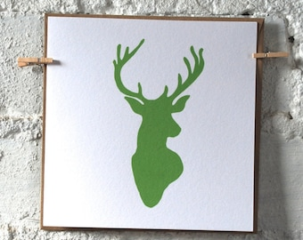 Pack of Stags Head Cards - Christmas Cards - Festive Cards - Greeting Cards - Note Card Set - Notecards - Stag Head Print - Blank Card