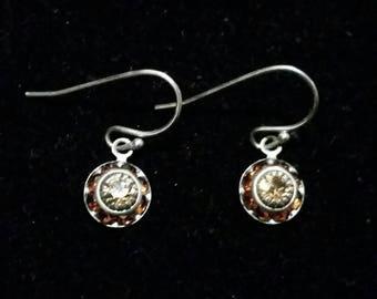 Brown Rhinestone Dangle Earrings - vintage silver
