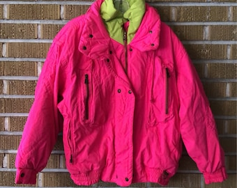 size 10- neon pink, neon green ski jacket, Bogner made in the usa