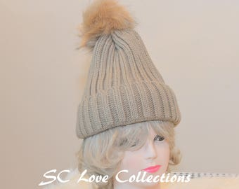 Beige Woven Style Fashion Pompom Faux Fur Beanies Pink Red White Beige Gray Black Warm Cozy Women's Beanie Hats One Size Assorted Colors
