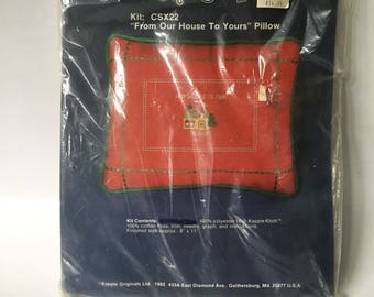 """New and Sealed Vintage Christmas Pillow Cross Stitch Kappie Kit """"From Our House to Yours"""", Finished Size 9"""" x 11"""", 1982"""