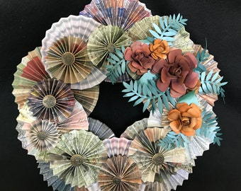 mixed browns paper rosette wreath with brown inked roses