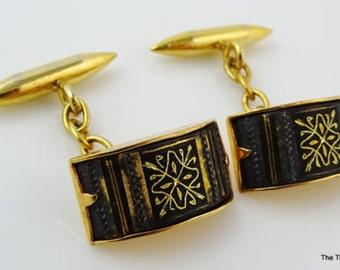 Damascene Cufflinks Vintage 24K Gold Inlay Chain Links