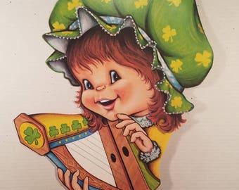 Vintage St. Patrick's Day Die Cuts, Saint Patrick's Day Decor, Beistle Co., Shamrock, Pipe, Harp