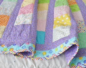 Child's Quilt Purple, Pink Green and Yellow