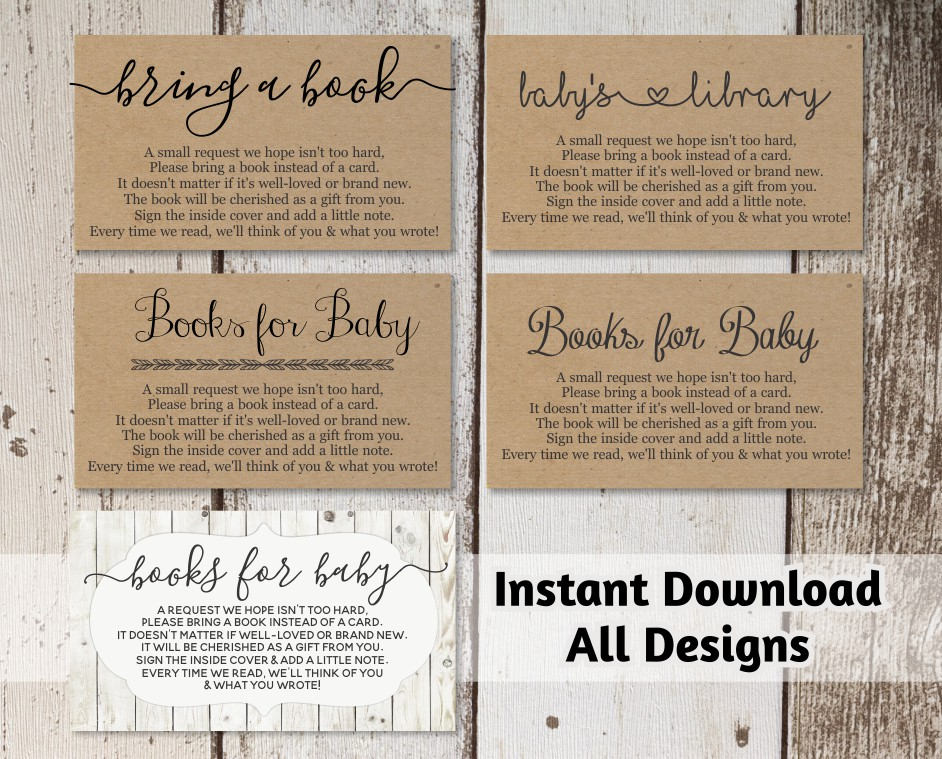 Printable baby shower book request bring a book instead of a card printable baby shower book request bring a book instead of a card rustic wood instant download avery business card template 8871 cheaphphosting Images