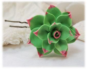 Flowerk Tip Succulent Hair Clip Pin - Green Succulent Hair Flower, Pink Tipped Succulent Hair Accessory