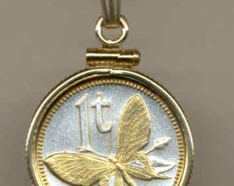 "Necklace - Gorgeous 2-Toned ""Gold on Silver"" New Guinea  ""Butterfly"",  Coin Necklaces"
